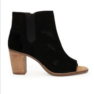 Toms Majorca Bootie suede perforated peep toe shoe